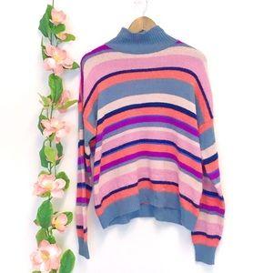 Chaps Denim Striped Turtleneck Sweater
